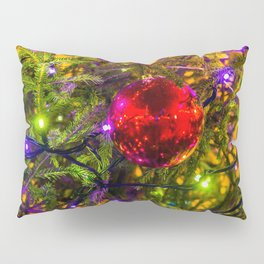 Red Ornament Ball, Blue Lights Pillow Sham