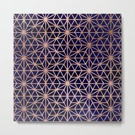 Modern rose gold stars geometric pattern Christmas navy blue watercolor Metal Print