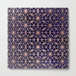 Modern rose gold stars geometric pattern Christmas navy blue watercolor Metal Print
