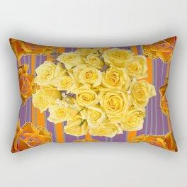 YELLOW ROSES PUCE STRIPE PATTERN Rectangular Pillow