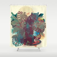 panther Shower Curtains featuring Panther Square by Ludovic Jacqz