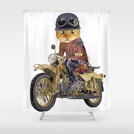 Cat riding motorcycle Shower Curtain