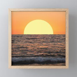 Fiery Ocean Sunset Framed Mini Art Print
