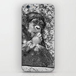 AnimalArtBW_Chimpanzee_20170605_by_JAMColorsSpecial iPhone Skin