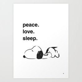 Snoopy - peace love sleep Art Print