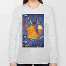 The Smart Fox in Flower Garden Long Sleeve T-shirt