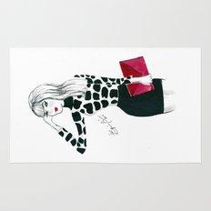 Giraffe Print Fashion Model Watercolor Rug