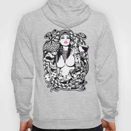 GIRL with SKULL AND SNAKE - PINK Hoody