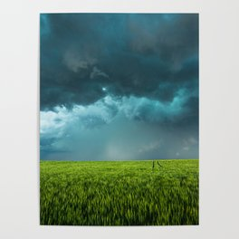 April Showers - Colorful Stormy Sky Over Lush Field in Kansas Poster