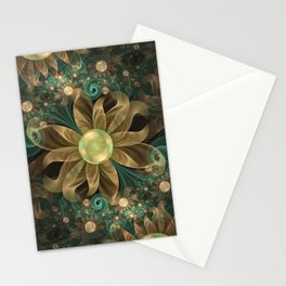 Shining Gems Blooming as Bronze and Copper Flowers Stationery Cards