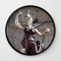 postcard Wall Clocks featuring Rome postcard by Miz2017