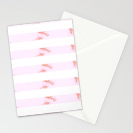 Pink Marble Stripes Stationery Cards