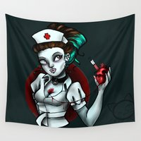 nurse Wall Tapestries featuring zombie nurse by Lyxy