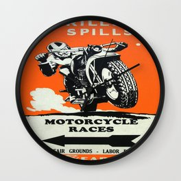 Vintage poster - Motorcycle Races Wall Clock