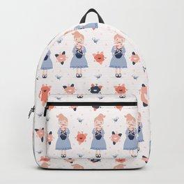 Hand drawn cute cartoon girl holding spring flower vase Backpack