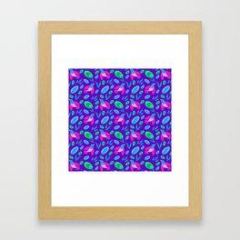 Pretty cute little pink birds, green blue delicate leaves, plants purple seamless p Framed Art Print