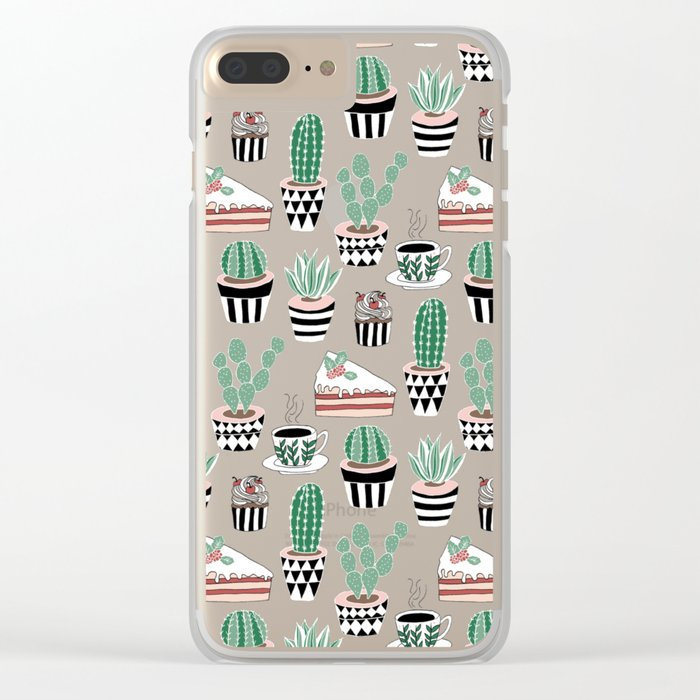 Cacti, Coffee and Cake Clear iPhone Case