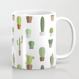 Seamless pattern with various cactuses in pots Coffee Mug
