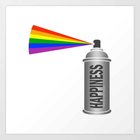 Happiness Spray Can - Rainbow Art Print