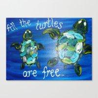 turtles Canvas Prints featuring Turtles by Lark Nouveau Studio