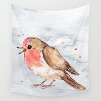 robin Wall Tapestries featuring Robin by Bwiselizzy