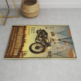 Vintage Motorcycle Show Parachute Advertising Poster Rug