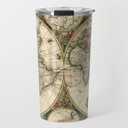 Old map of world hemispheres. Created by Frederick De Wit, published in Amsterdam, 1668 Travel Mug