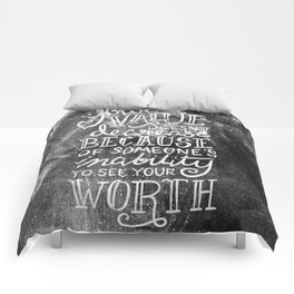 Your Value Quote - Hand Lettering Chalkboard Comforters