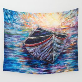 Wooden Boat at Sunrise - original oil painting with palette knife #society6 #decor #boat Wall Tapestry