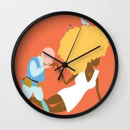 Afrodite and the jewellery maker, orange Wall Clock