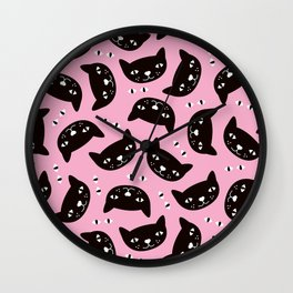 Kitty cats love illustration pattern Wall Clock