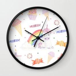 Kawaii Unicorn with Candy and Rainbows Wall Clock