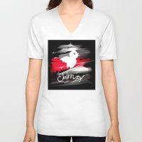 sparrow V-neck T-shirts featuring sparrow by tatiana-teni