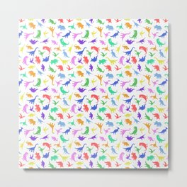 Fun Dinosaur Pattern Metal Print
