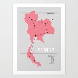 Constellation of Food - Thailand - Pink Art Print