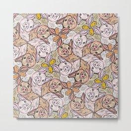 Pig Duck Sheep Escher Trio Metal Print
