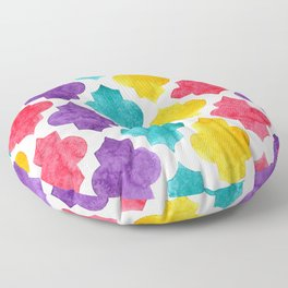 Colorful quatrefoil pattern in watercolor Floor Pillow