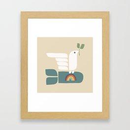 Peace dove and rainbow bomb Framed Art Print