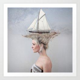 Sailing - White Art Print