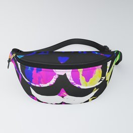 old vintage funny skull art portrait with painting abstract background in pink blue yellow green Fanny Pack