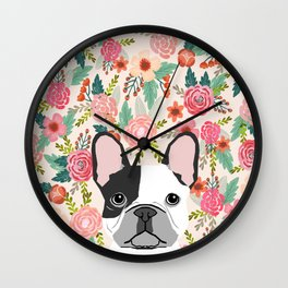 French Bulldog  floral dog head cute frenchies must have pure breed dog gifts Wall Clock