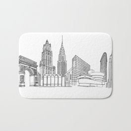 NYC Landmarks by the Downtown Doodler Bath Mat