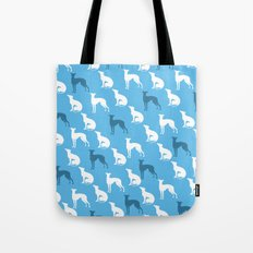 Greyhound Dogs Pattern On Blue Color Tote Bag