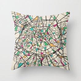 Colorful City Maps: Paris, France Throw Pillow