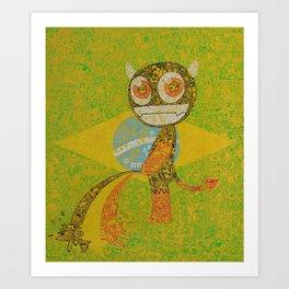 brazil belgium worldcup devil manneken pis Art Print