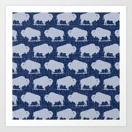 Buffalo Bison Pattern 280 Indigo Denim Art Print