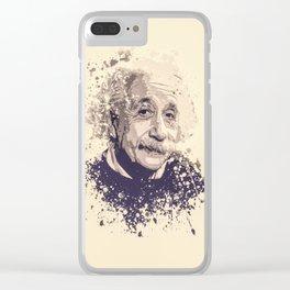 Albert Einstein splatter painting Clear iPhone Case