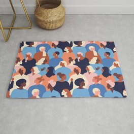 Female diverse faces of different ethnicity pattern Rug