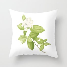 Gardenia Flower Throw Pillow
