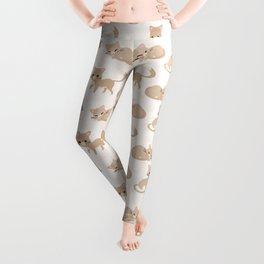 Ragdoll Cats Pattern – Cream Paw Print Background Leggings